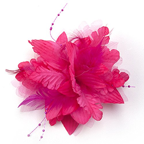 Baby Toddler Girls Bright Flower Hair Clips Barrettes Accessories with Feathers (Hot Pink)