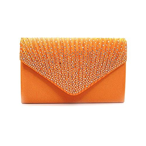 Flada - Cartera de mano para mujer plateado plata mediano naranja