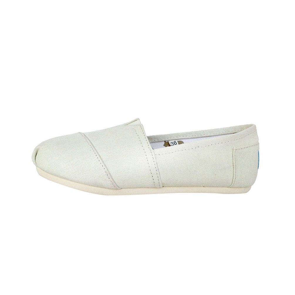 Dooxii Unisex Uomo Donna Casuale Loafers Scarpe Moda Tinta Unita Espadrillas Basse Scarpe Slip on Flats Beige 39(24.5cm)