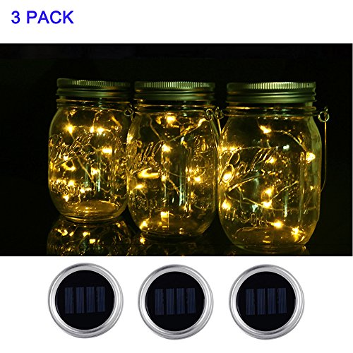 Price comparison product image Mason Jar Lids Solar Powered 5 Pack with 10 LED Multi-color Fairy String Light,  IP65 Waterproof Jar Lights Silver Screw Inserts with Regular Month (Jar Not Included) (3,  Warm White)