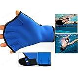 Training Gloves JUN-Q® Teenages Water Resistance Fins Hand Glove Training Fingerless Webbed Flippers Paddle Swim Force Gloves (Medium , Blue)