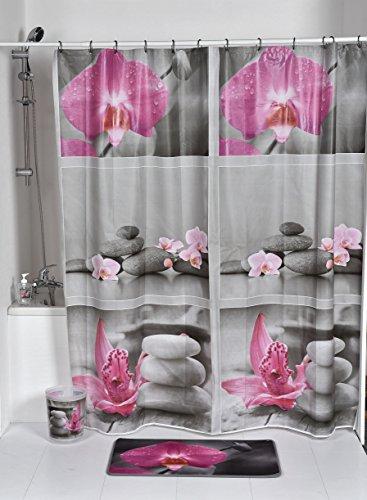 EVIDECO 1100399 Decorative Shower Curtain, 71L X 71W, Gray, Pink, Purple, Multi