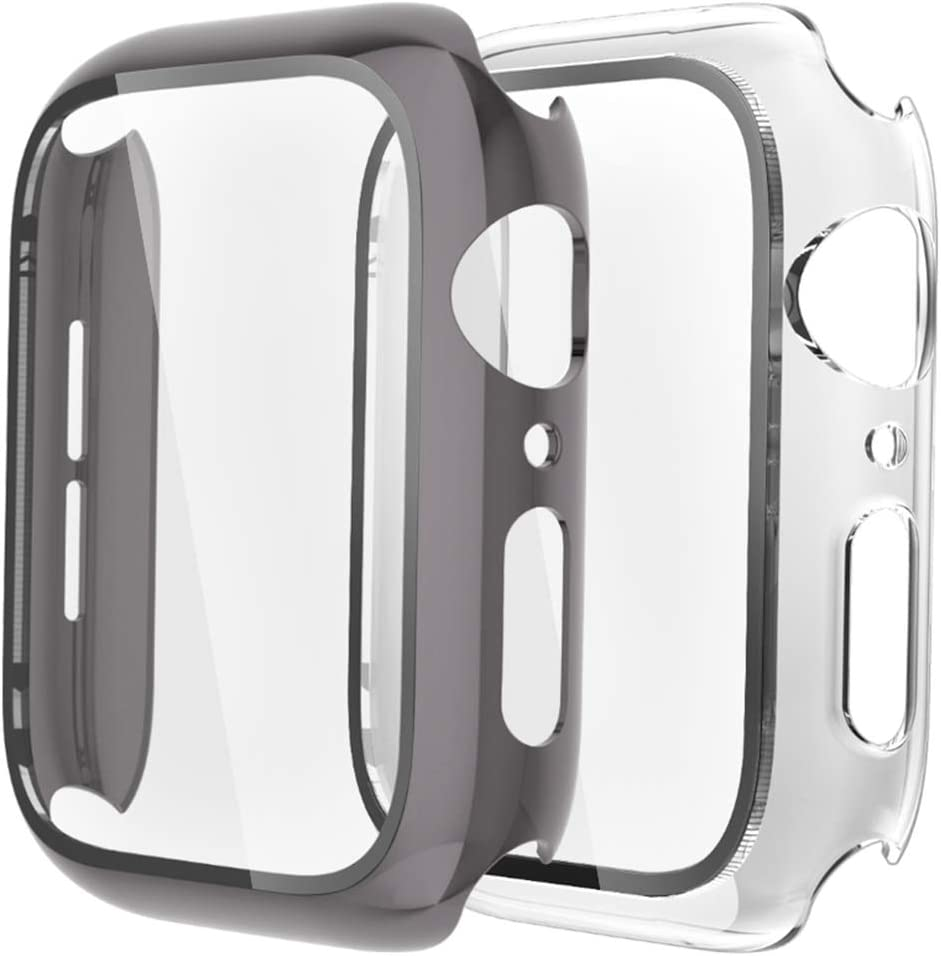 [2 Pack] GBPOOT Compatible with Apple Watch Case 44mm with Screen Protector Tempered Glass,Ultra-Thin TPU Full Screen Protector Film,Hard PC Shockproof Bumper Cover for iWatch Series SE/6/5/4