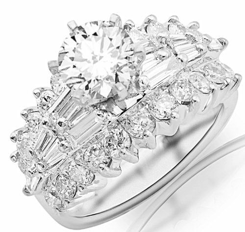 - 4.15 Carat 14K White Gold Exquisite Prong Set Bageutte and Round Diamond Engagement Ring with a 2 Carat Moissanite Center