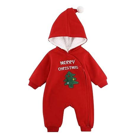 Bebé Navidad Mameluco con Capucha Invierno Mono Papá Noel Pelele Cachemira Body Manga Larga