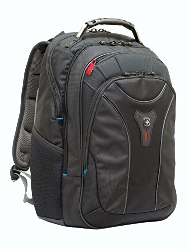 Swiss Gear Carbon II Black Notebook Backpack-Fits Apple Macbook Pro 15 inch and 17 inch