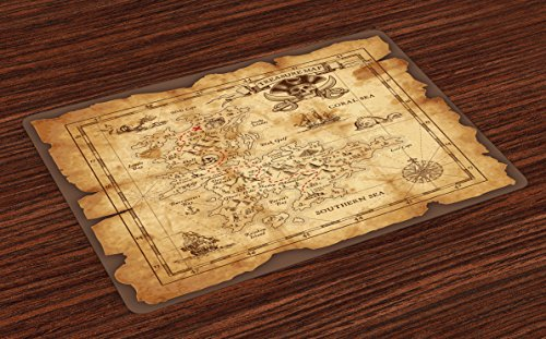 Island Map Place Mats Set of 4 by Ambesonne, Super Detailed Treasure Map Grungy Rustic Pirates Gold Secret Sea History Theme, Washable Placemats for Dining Room Kitchen Table Decoration, Beige (Old Treasure Map)