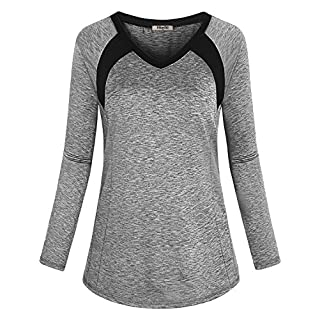 Hibelle Yoga Shirts for Women, Trendy Breathable Athleisure Wear Walking Running Exercise Sports Tops Sweat Absorbing Moisture Wicking Fabric with High Stretch Clothing Grey XXL