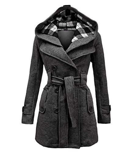 Women's Warm Fleece Hooded Double Breast Jacket with Belt Coat (3x Belts For Women compare prices)
