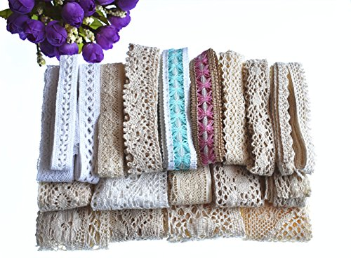 Fancy Lace Trim - RayLineDo 20 Meters Assorted Vintage Style Cotton Lace Ribbon Trim Bridal Wedding Scalloped Edge Crochet Lace DIY Sewing Accessory Collection C