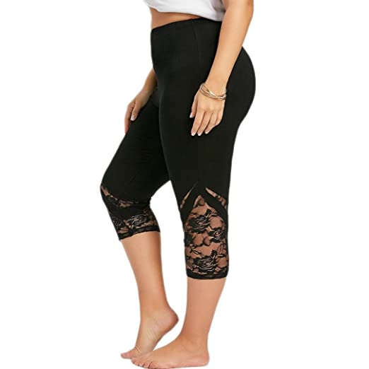 abb9edb6fc9 Greatgiftlist Womens Plus Size Floral Lace Mesh Leggings Workout Running  Athletic High Waist Black Pants (