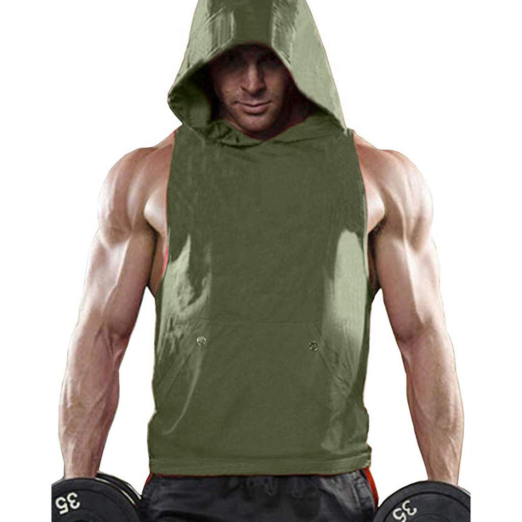 Hooded Tank Tops for Men, F_Gotal Men's Fashion Summer Sleeveless Muscle Plain Outdoor Vest Racerback Blouse Tops Army Green