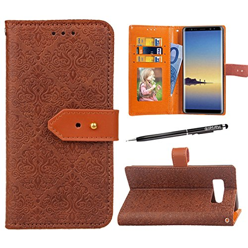Galaxy Note 8 Wallet Case, Harsel Retro Vintage Emboss Flowers Print Premium PU Leather Magnetic Closure [Stand Feature] with Card Slots Book-style Folio Flip Case Cover for Galaxy Note 8 - Note Wallet Cards