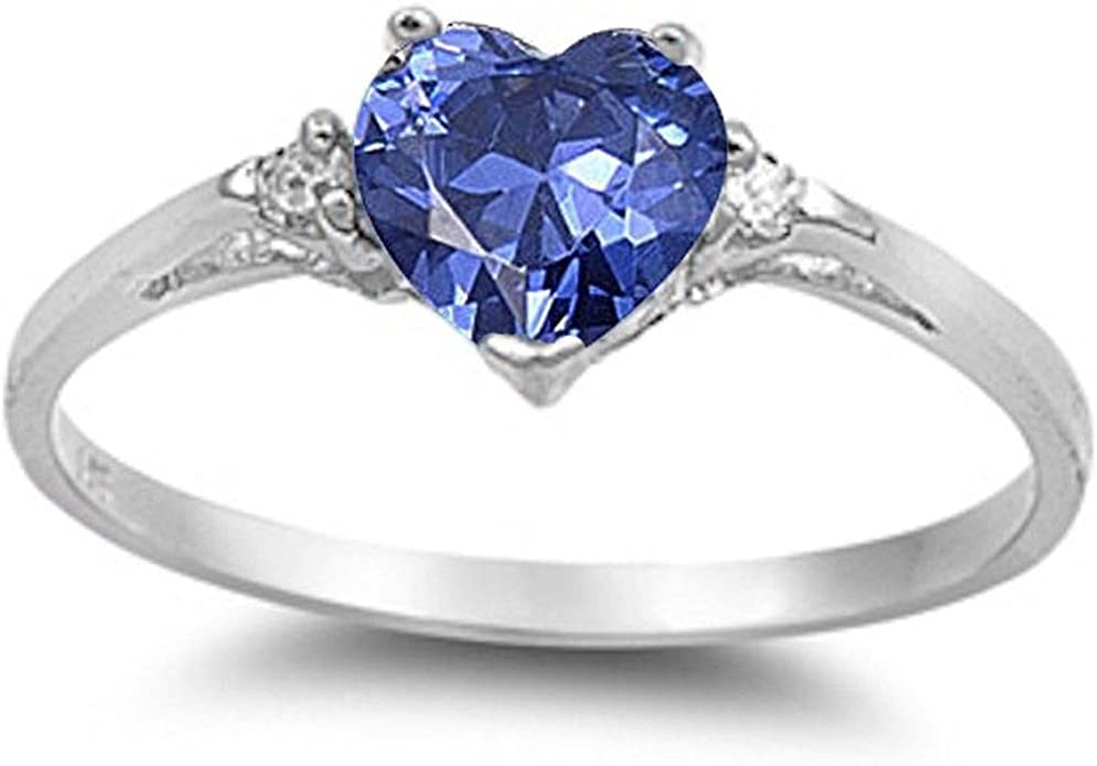 CloseoutWarehouse Teardrop Black Simulated Opal Center With Clear Cubic Zirconia Sides Ring Sterling Silver
