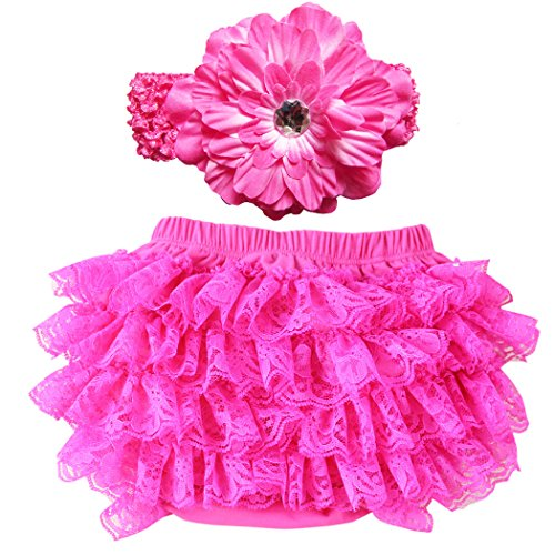 Wennikids Lace Ruffle Diaper Cover Bloomer and Headband SET for Baby Girls (Hot Pink Ruffle)