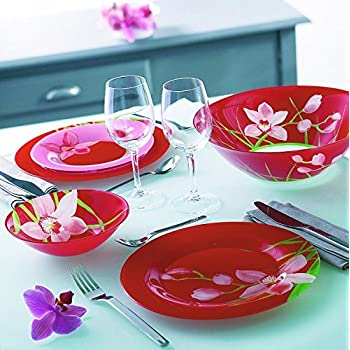 Luminarc  Red Orchis  Unbreakable Tempered Glass 19-pcs Dinnerware Set Red colored  sc 1 st  Amazon.com & Amazon.com | Luminarc