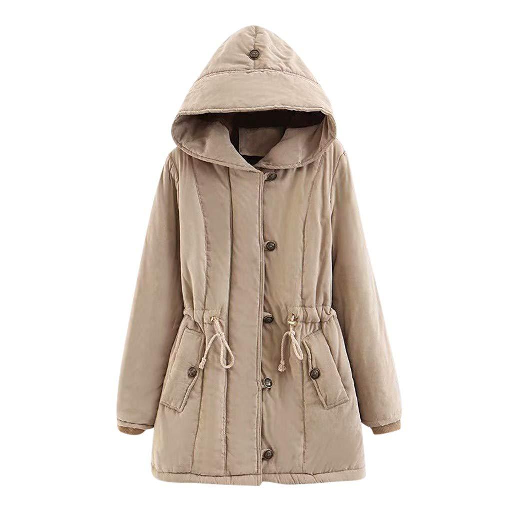 Dainzuy Womens Hooded Warm Winter Coats Thicken Faux Fur Lined Outwear Jacket Overcoat Hooded Pocket Parka Khaki by Dainzuy Womens Outerwear