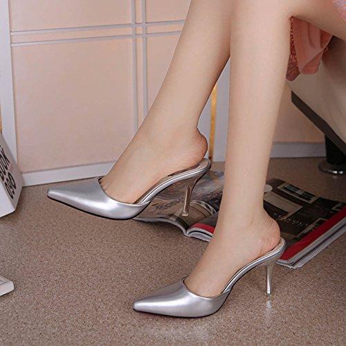 GAOLIM Zapatillas Cool Verano Fino Femenino Con La Baotou Sandalias De Tacón Alto Punto De Rampa Y Zapatillas La Mitad De Arrastre Y Zapatos De Mujer Silver