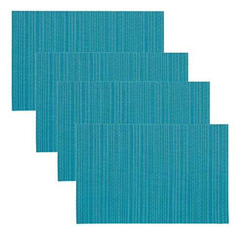 - YING CHIC YYC 4Pcs Simple Solid Color PVC Placemat Stain-Resistant Hotel Home Heat Insulation Striped Table Mat Waterproof (Light Blue)
