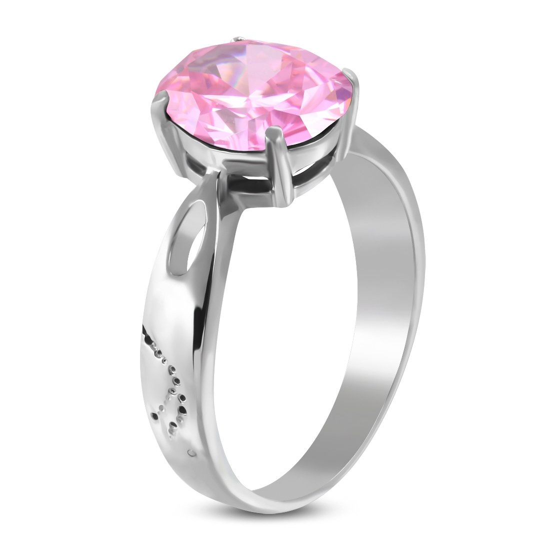 Stainless Steel Prong-Set Oval Engagement Ring with Rose Pink CZ
