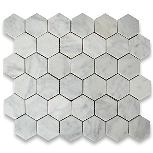 Carrara White Italian Carrera Marble Hexagon Mosaic Tile 2 inch Honed (Tile Flooring Bianco Mosaic)