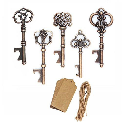 AmaJOY 50pcs Assorted Vintage Skeleton Key Openers Antique Copper Wedding Favors Birthday Party (Happiness Wedding Favor)