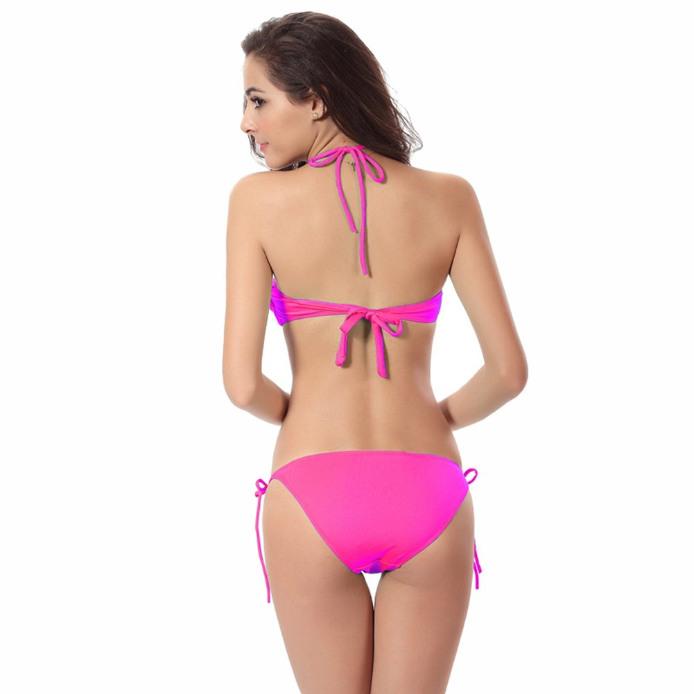 7d5b7871d6 Amazon.com  Fashion bikini suit sexy lace swimsuit gather corset solid  color hanging neck swimwear bra bikini (one size