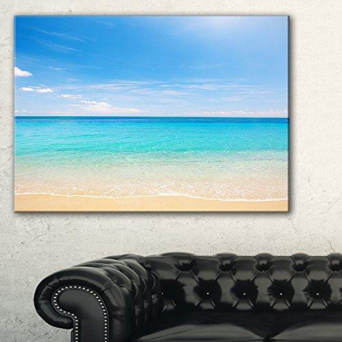 Design Art PT9499-60-28 Bright Blue Tropical Beach Seashore Photo Canvas Art Print (1 Piece),Blue,60x28'' by Design Art