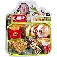 Fashion Small Cutlery and Small Partners Play Fun Simulation Game Now, Alimentos y Utensilios de Juguete, Set de Cocina Juego de Roles, Pack con platillos, Cubiertos y Alimentos 12 pzs