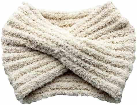 a2b64708622800 Women's Winter Wool Knit Headband Ear Warmer Oversized Twist Hairband Hat