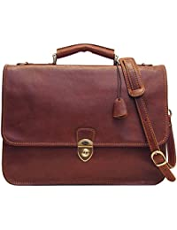 Leather Briefcase Messenger Bag in Brown Italian Calfskin