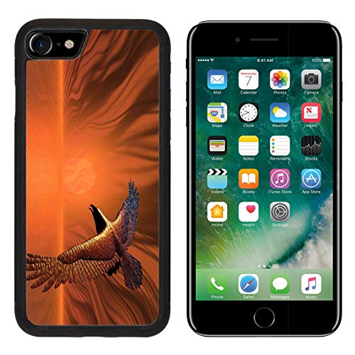 MSD Apple iPhone 8 Case Aluminum Backplate Bumper Snap Case Image ID: 277101 Surreal Flaming Eagle in a Surreal Sunset