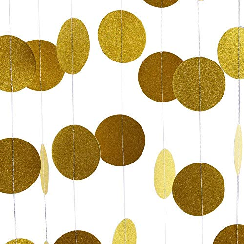 Glitter Party Decorations Garland,Sundell Gold Glitter Paper Circle Dots Garland Hanging Banner Paper Garland Bunting Backdrop Birthday Party Wedding Decor (1.9 inch in Diameter,6.6 Feet,4 Packs) -