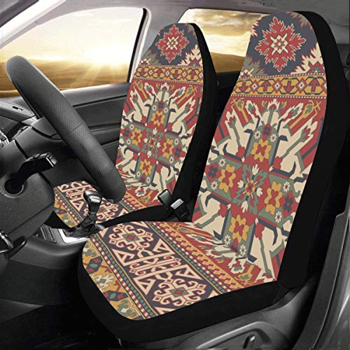 Persian Style Ethnic Custom New Universal Fit Auto Drive Car Seat Covers Protector for Women Automobile Jeep Truck SUV Vehicle Full Set Accessories for Adult Baby (Set of 2 Front)