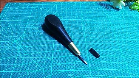 Baver Ebony Blackwood Handle Leather Craft Sewing Kit Diamond Awl DIY Tool 3mm//4mm 5//6mm 4mm M