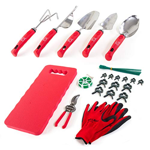 Wellmax Garden Tools Set of 12 with Gardening Gloves, Pruning Shear and 7 Piece Stainless Steel Hand Digging Tool Heavy…
