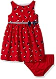 Nautica Baby Girls' Printed Poplin Sailboat Dress, Red, 24 Months