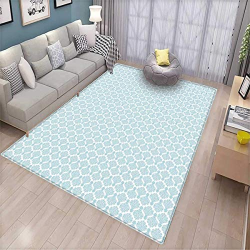 - Damask Kids Carpet Playmat Rug Ornamental Flower with Curls Swirls Victorian Inspirations Symmetric Shape Door Mats for Inside Non Slip Backing Pale Grey Blue White