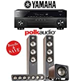 Yamaha AVENTAGE RX-A870BL 7.2-Channel Network A/V Receiver + Polk Audio S60 + Polk Audio S35 + Polk Audio HTS12 - 3.1-Ch Home Theater Package (Brown Walnut)