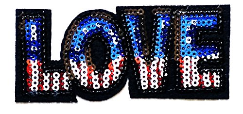 Nipitshop Patches Sequin LOVE American Flag Sequins Appliques Patch for Clothes Backpacks T-shirt Jeans Skirt vests scarf Hat Bag