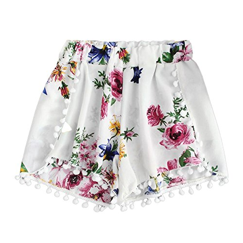 WEUIE Hot Sale Womens Lace Printing Mid Waist Loose Shorts Elastic Waist Ringer Shorts Pants (M,White