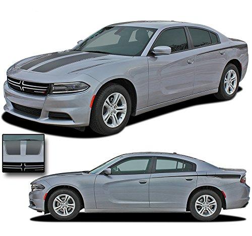 RECHARGE 2 COMBO : 2015-2018 Dodge Charger Vinyl Graphics Split Hood and Rear Quarter Panel Accent Stripes 3M Decal Kit (FITS ALL MODELS) (Color-3M 16812 Matte Black) -