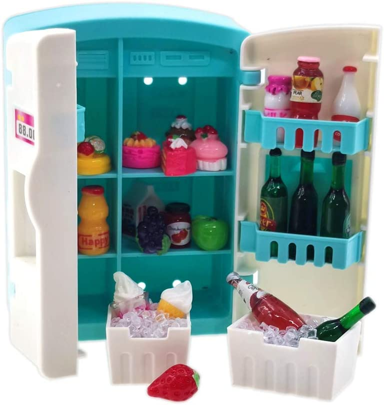 Nuanmu Miniature Refrigerator Drink Bottles Wine Bottles Dollhouse Cake Decorations Pretend Play Kitchen Game Party Toys (Refrigerator Package)