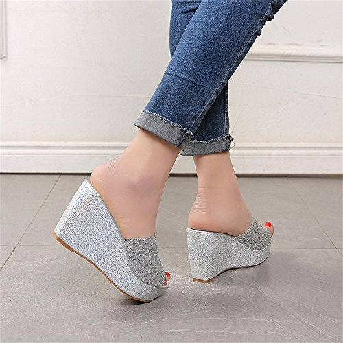 Sandals Shoes Waterproof Wedge Sandals Slippers pit4tk Beach Sliver Sandals Summer Platform Women vHx8fqF6w