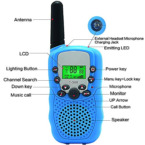 Kids Walkie Talkie Two Ways Radio Toy Walkie Talkie for Kids 2 Miles Range 3 Channels Built in Flash Light FRS GMRS Handheld Mini Walkie Talkie for Outdoor Adventures Camping Hiking Set of 2