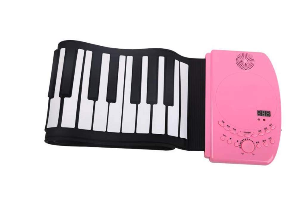 CE-LXYYD 88-Key Portable Hand roll Piano, Lithium Battery Rechargeable Stereo Waterproof Silicone Electronic Piano,with MP3, is The Best Gift for Friends and Family,Pink by CE-LXYYD