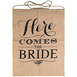 Vlovelife Here Comes The Bride Sign Burlap Banner Wedding Flag Rustic Ceremony Flower Children 15 x 21 Inches