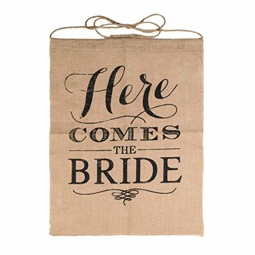 Vlovelife Here Comes The Bride Sign Burlap Banner Wedding Flag Rustic Ceremony Flower Children 15 x 21 Inches]()