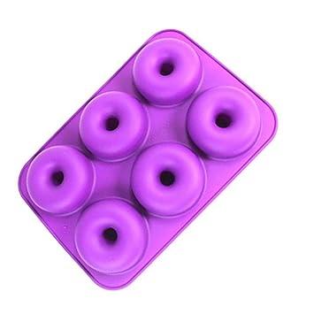 Queta Moldes de silicona para donut, 6 cavidades, antiadherente, seguro, bandeja para horno, sartén resistente al calor para pasteles, galletas, ...