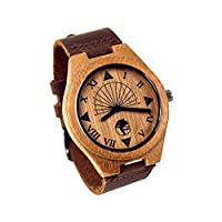 Viable Harvest MenGÇÖs Wood Watch, Unique Sundial Design, Natural Bamboo, Genuine Leather and Gift Box (Brown)